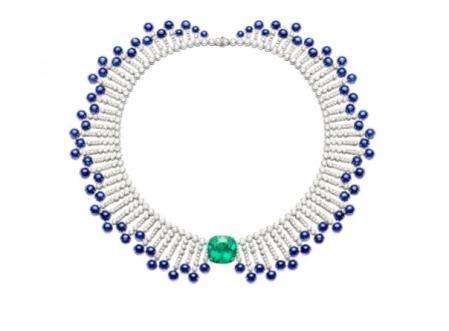 Collar de Esmeralda, zafiros y perlas